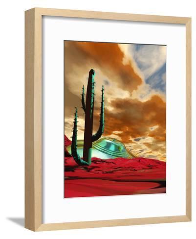 Crashed Alien Spacecraft-Victor Habbick-Framed Art Print
