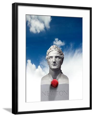 Issac Newton And the Apple, Artwork-Victor Habbick-Framed Art Print