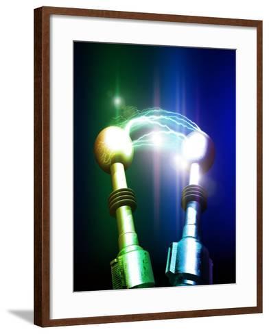 Tesla Coils Firing, Artwork-Victor Habbick-Framed Art Print
