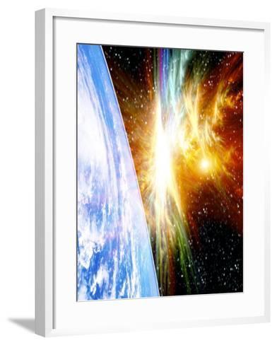 Solar Flare Threatening Earth-Victor Habbick-Framed Art Print