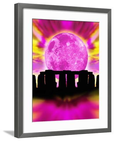 Computer Illustration of Stonehenge And the Moon-Victor Habbick-Framed Art Print