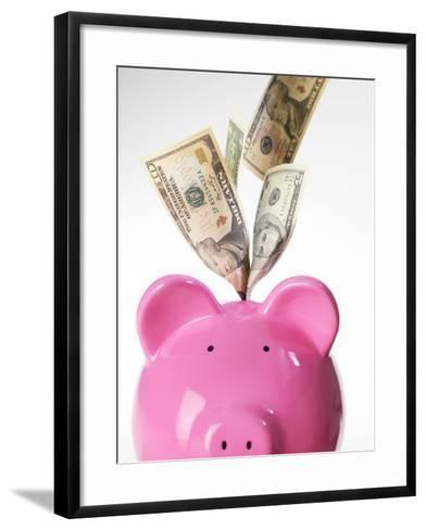 Piggy Bank And US Dollars-Tek Image-Framed Art Print