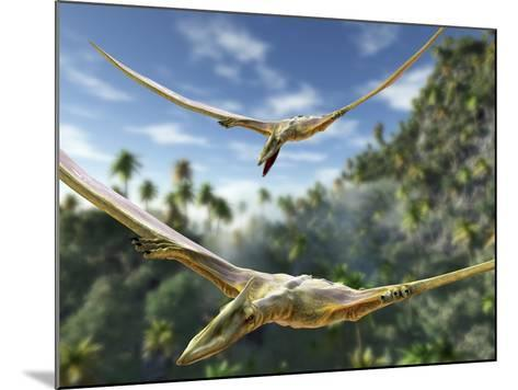Pterosaurs Flying, Computer Artwork-Roger Harris-Mounted Photographic Print