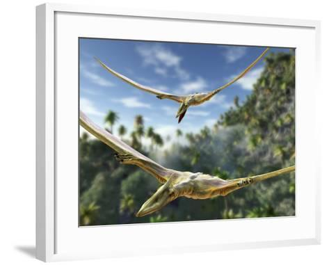 Pterosaurs Flying, Computer Artwork-Roger Harris-Framed Art Print