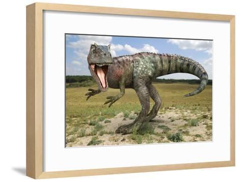Allosaurus Dinosaur, Artwork-Roger Harris-Framed Art Print
