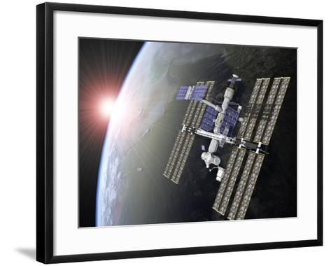 International Space Station-Roger Harris-Framed Art Print