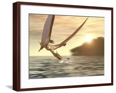 Pterosaur Fishing, Computer Artwork-Roger Harris-Framed Art Print