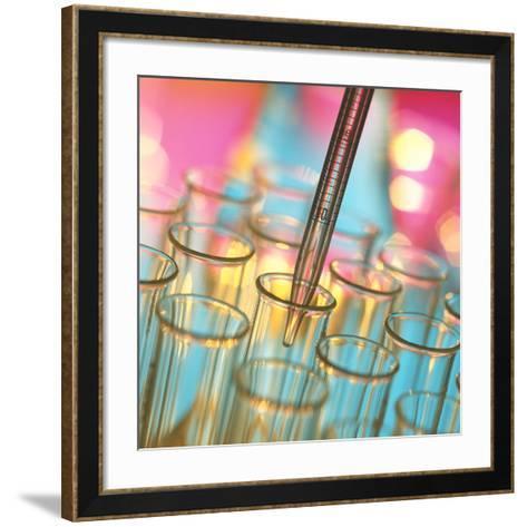 Graduated Pipette And Test Tubes-Tek Image-Framed Art Print