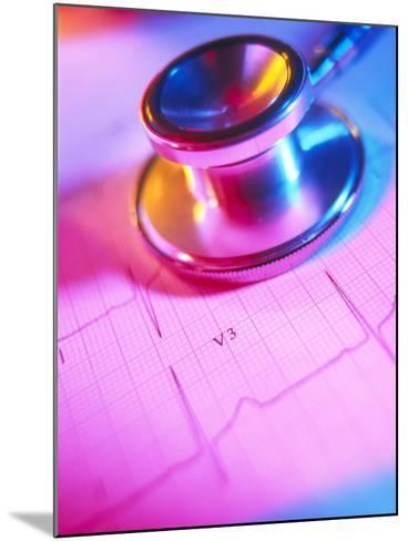 Stethoscope And a Healthy Electrocardiogram Trace-Tek Image-Mounted Photographic Print