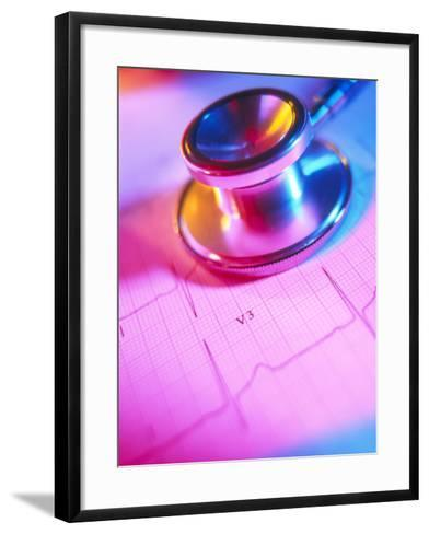 Stethoscope And a Healthy Electrocardiogram Trace-Tek Image-Framed Art Print