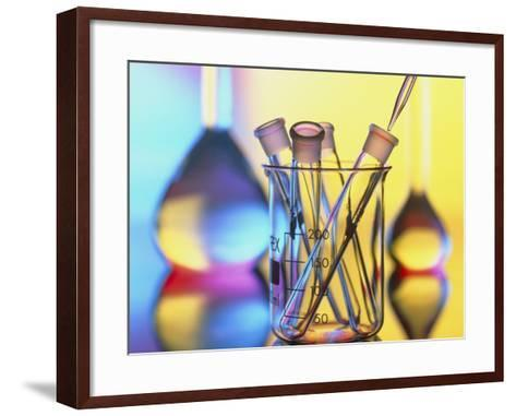 Test Tubes In Beaker with Pipette And Flasks-Tek Image-Framed Art Print