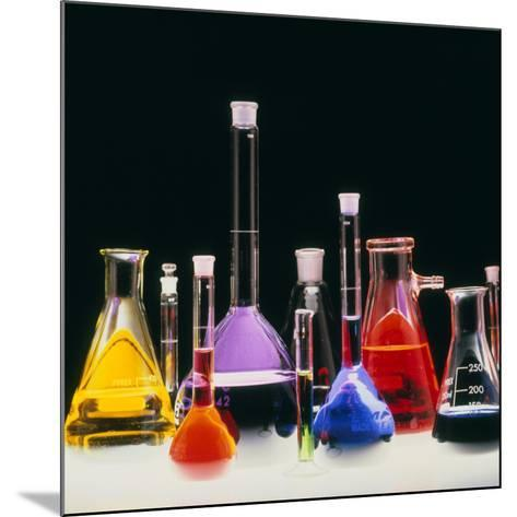 Assortment of Laboratory Flasks Holding Solutions-Tek Image-Mounted Photographic Print