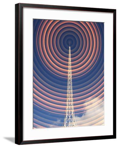 Radio Mast with Radio Waves-Mehau Kulyk-Framed Art Print