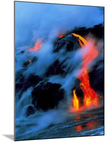 Molten Pahoehoe Lava Flowing Into the Ocean-Brad Lewis-Mounted Photographic Print
