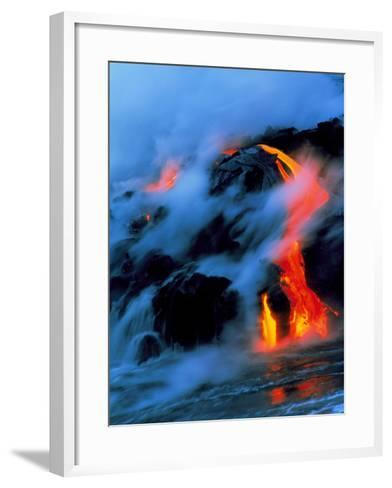 Molten Pahoehoe Lava Flowing Into the Ocean-Brad Lewis-Framed Art Print