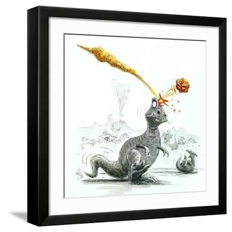 Caricature of the Death of Dinosaurs by Meteorite-Lutz Lange-Framed Art Print