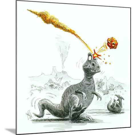 Caricature of the Death of Dinosaurs by Meteorite-Lutz Lange-Mounted Photographic Print