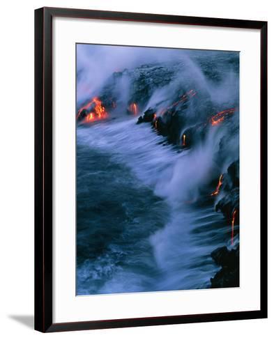 Molten Lava Flowing Into the Ocean-Brad Lewis-Framed Art Print