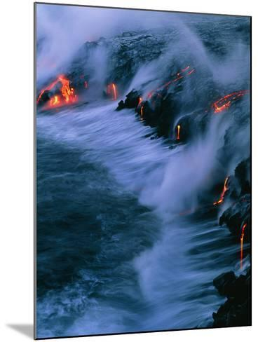 Molten Lava Flowing Into the Ocean-Brad Lewis-Mounted Photographic Print