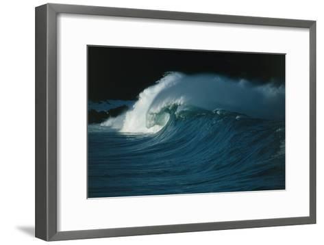 Wind-blown Wave Breaking In Hawaii-Brad Lewis-Framed Art Print