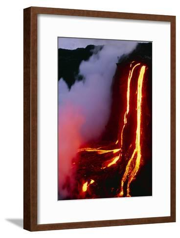 Lava Flowing Down Cliff Into the Ocean-Brad Lewis-Framed Art Print