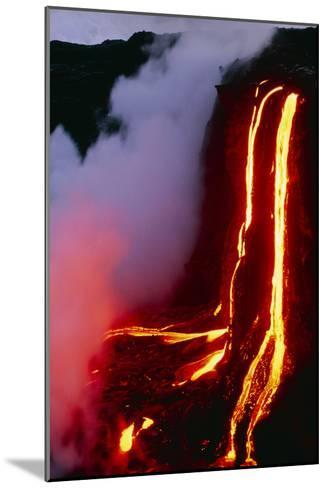 Lava Flowing Down Cliff Into the Ocean-Brad Lewis-Mounted Photographic Print
