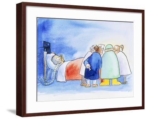 Caricature of a Hospital Consultation-David Gifford-Framed Art Print