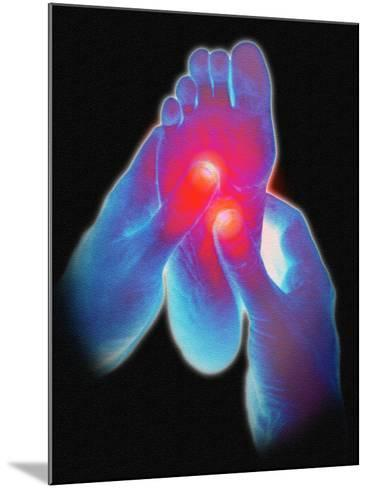 Computer Artwork of Reflexologist Massaging a Foot-David Gifford-Mounted Photographic Print
