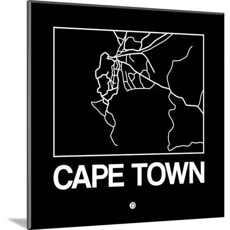 Black Map of Cape Town-NaxArt-Mounted Art Print