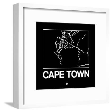 Black Map of Cape Town-NaxArt-Framed Art Print