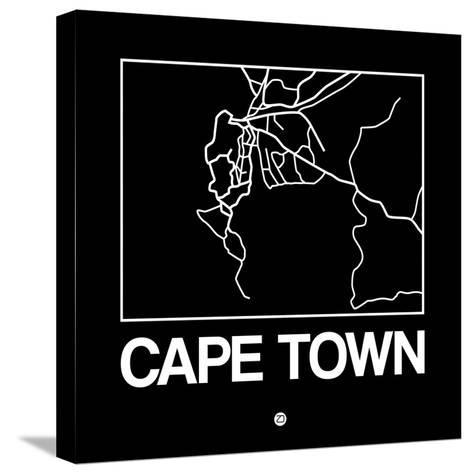 Black Map of Cape Town-NaxArt-Stretched Canvas Print