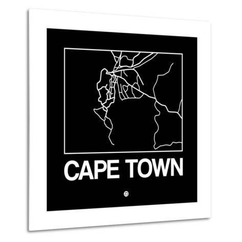 Black Map of Cape Town-NaxArt-Metal Print