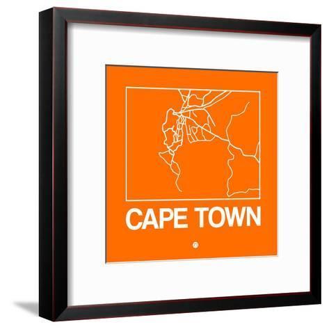 Orange Map of Cape Town-NaxArt-Framed Art Print