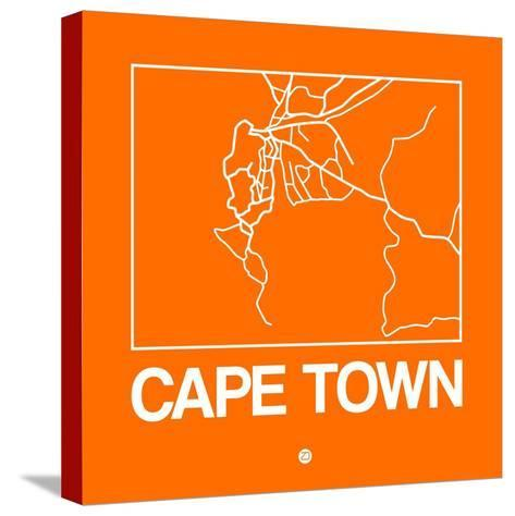 Orange Map of Cape Town-NaxArt-Stretched Canvas Print