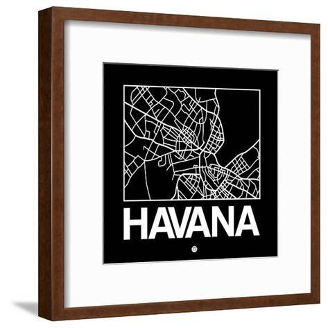 Black Map of Havana-NaxArt-Framed Art Print