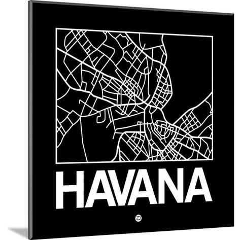 Black Map of Havana-NaxArt-Mounted Art Print