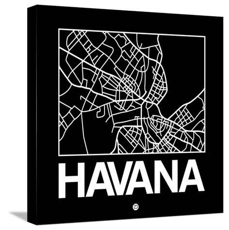 Black Map of Havana-NaxArt-Stretched Canvas Print