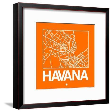 Orange Map of Havana-NaxArt-Framed Art Print