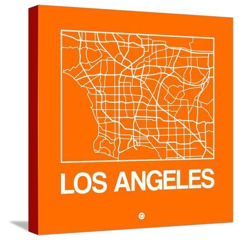 Orange Map of Los Angeles-NaxArt-Stretched Canvas Print