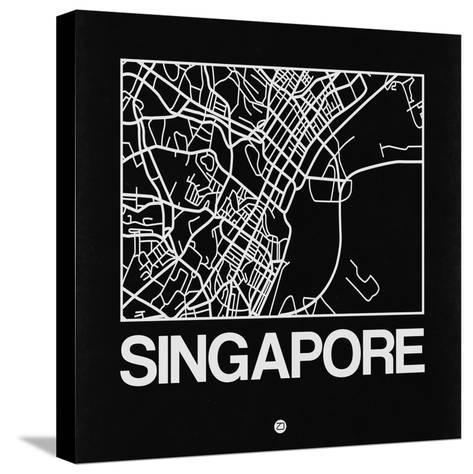 Black Map of Singapore-NaxArt-Stretched Canvas Print