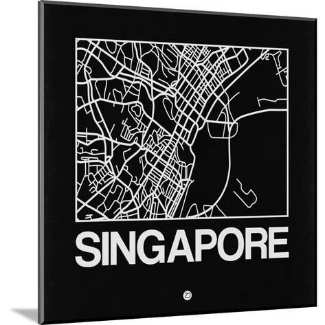 Black Map of Singapore-NaxArt-Mounted Art Print