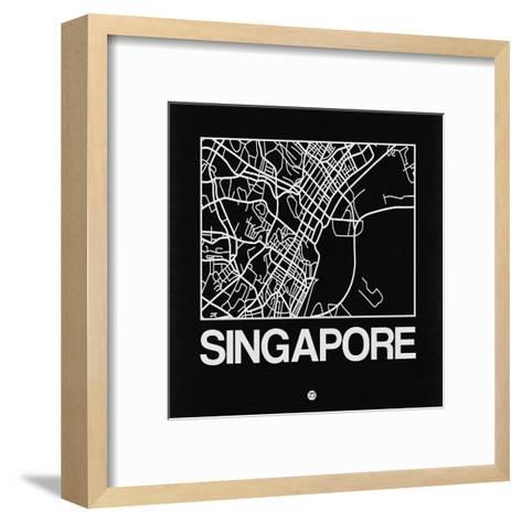 Black Map of Singapore-NaxArt-Framed Art Print