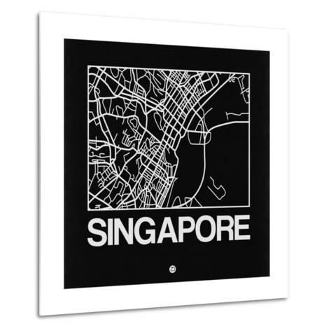 Black Map of Singapore-NaxArt-Metal Print