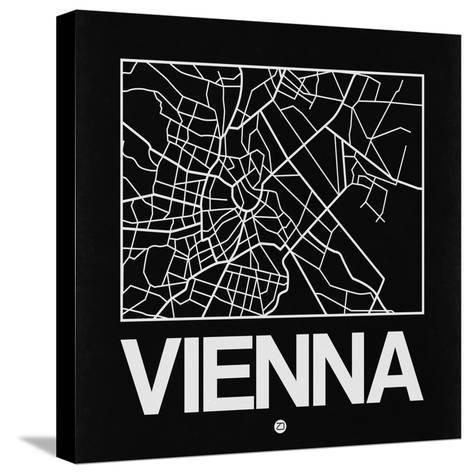 Black Map of Vienna-NaxArt-Stretched Canvas Print