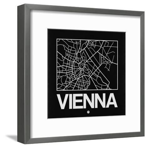 Black Map of Vienna-NaxArt-Framed Art Print