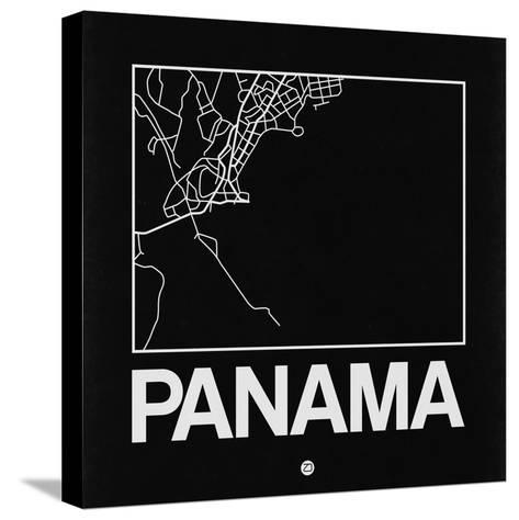 Black Map of Panama-NaxArt-Stretched Canvas Print