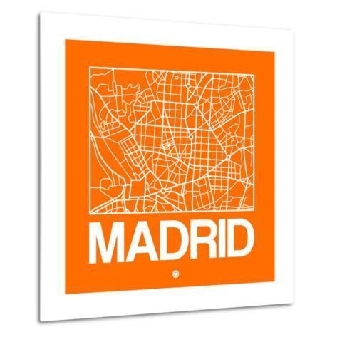 Orange Map of Madrid-NaxArt-Metal Print