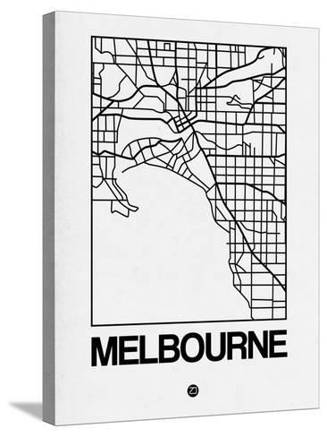 White Map of Melbourne-NaxArt-Stretched Canvas Print