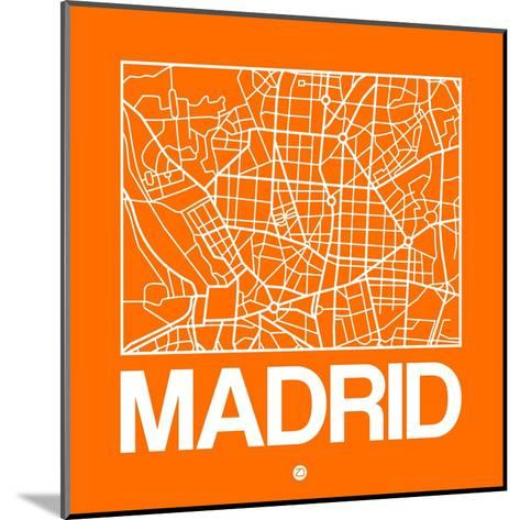 Orange Map of Madrid-NaxArt-Mounted Art Print