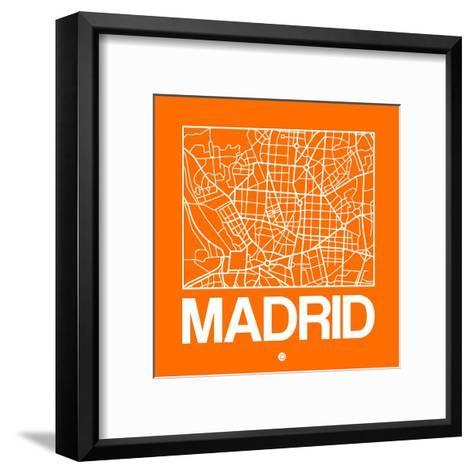 Orange Map of Madrid-NaxArt-Framed Art Print